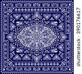 vintage vector turkish rug... | Shutterstock .eps vector #390176617