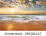 brilliant ocean beach sunrise.   Shutterstock . vector #390181117