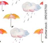 watercolor pattern of umbrella... | Shutterstock . vector #390195703