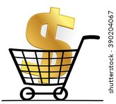 dollar sign with cart  business ... | Shutterstock .eps vector #390204067