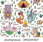hand drawn camping seamless... | Shutterstock .eps vector #390205507