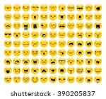 great set of 99 yellow emotion... | Shutterstock .eps vector #390205837