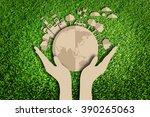 paper cut of green city...   Shutterstock . vector #390265063