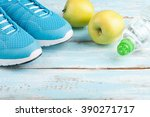 sport shoes  apples  bottle of... | Shutterstock . vector #390271717