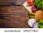 ingredients for hamburgers on... | Shutterstock . vector #390277867
