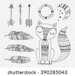 outline boho style totem fox ... | Shutterstock .eps vector #390285043