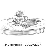table setting set. weekend... | Shutterstock .eps vector #390292237