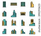 trendy flat line icon pack for... | Shutterstock .eps vector #390293623
