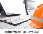 view of workplace in the... | Shutterstock . vector #390296353