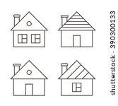 monochrome outline houses set... | Shutterstock .eps vector #390300133