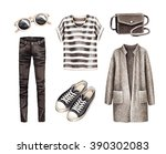 fashion collection. watercolor... | Shutterstock . vector #390302083