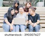 group of happy teen high school ... | Shutterstock . vector #390307627