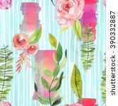 light blue strips with flower... | Shutterstock . vector #390332887