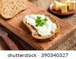 butter and bread for breakfast  ... | Shutterstock . vector #390340327