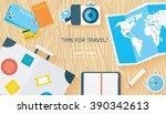 traveler's desktop. | Shutterstock .eps vector #390342613