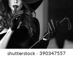 sexy dominant woman in hat and... | Shutterstock . vector #390347557