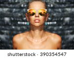 fashion portrait of stylish... | Shutterstock . vector #390354547