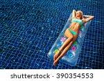 fashion portrait of beautiful... | Shutterstock . vector #390354553