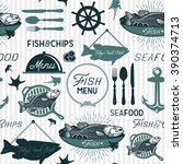 seamless background with fish | Shutterstock .eps vector #390374713