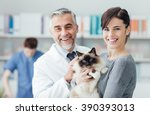 smiling woman and her cat at... | Shutterstock . vector #390393013