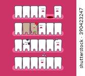 cute cartoon flat style tooth... | Shutterstock .eps vector #390423247