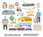 set of flat elements on the... | Shutterstock . vector #390450007