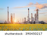 oil refinery factory in the...   Shutterstock . vector #390450217