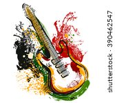 electric guitar. hand drawn... | Shutterstock .eps vector #390462547