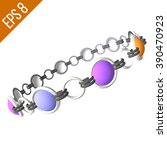 silver bracelet with colored... | Shutterstock .eps vector #390470923