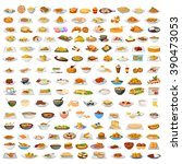 collection of delicious food... | Shutterstock .eps vector #390473053