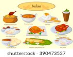 collection of delicious indian... | Shutterstock .eps vector #390473527