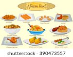 collection of delicious african ... | Shutterstock .eps vector #390473557