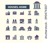houses  home icons  | Shutterstock .eps vector #390474307