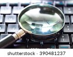 a magnifying glass is searching ... | Shutterstock . vector #390481237