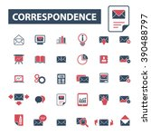 correspondence icons  | Shutterstock .eps vector #390488797