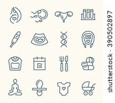 pregnancy line icons   Shutterstock .eps vector #390502897