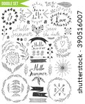 hand drawn set   hello summer.... | Shutterstock .eps vector #390516007