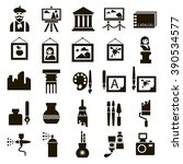set of 25 black icons of art on ... | Shutterstock .eps vector #390534577