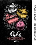 sweet cakes pastry hand drawn... | Shutterstock .eps vector #390544927