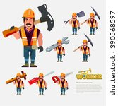 professional worker carry work... | Shutterstock .eps vector #390568597