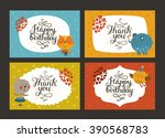 set of cute animal cards with... | Shutterstock . vector #390568783