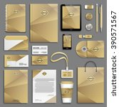 trendy gold corporate identity... | Shutterstock .eps vector #390571567