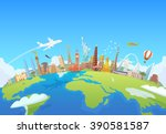 travel to world. road trip.... | Shutterstock . vector #390581587