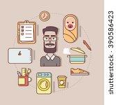 thin line vector illustration... | Shutterstock .eps vector #390586423