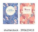 set of vector greeting card ... | Shutterstock .eps vector #390623413