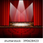 a theater stage with a red... | Shutterstock .eps vector #390628423