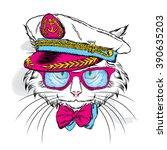 cat in the captain's cap.... | Shutterstock .eps vector #390635203