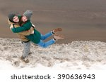 young couple in love  hugging ... | Shutterstock . vector #390636943