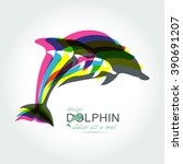 dolphin icon design element on... | Shutterstock .eps vector #390691207