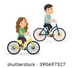 couple riding bicycles. young... | Shutterstock .eps vector #390697327